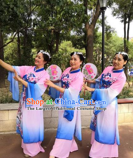 Piao Xiang Zui Chinese Stage Performance Classical Dance Blue Dress Traditional Fan Dance Costume for Women