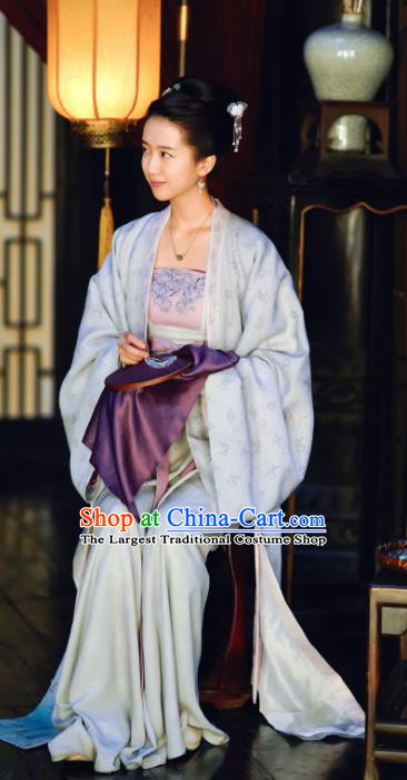 Chinese Ancient Song Dynasty Imperial Consort Miao Historical Costumes Garment and Headpiece Drama Serenade of Peaceful Joy Court Lady Dress Apparels