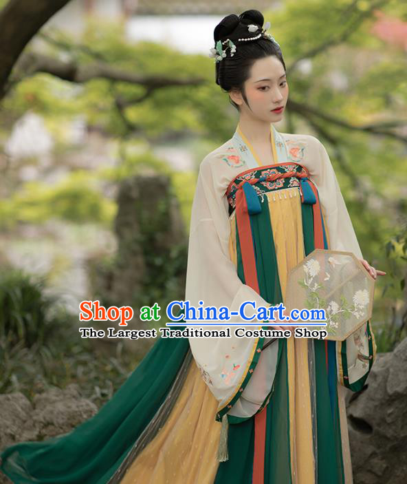 Chinese Traditional Tang Dynasty Court Lady Hanfu Dress Ancient Palace Princess Embroidered Garment Historical Costumes