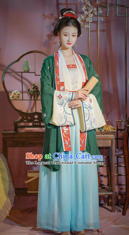 Chinese Traditional Song Dynasty Noble Female Historical Costumes Ancient Patrician Lady Hanfu Dress Garment
