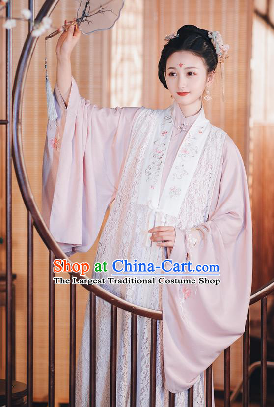 Chinese Traditional Ming Dynasty Lace Vest Hanfu Dress Ancient Palace Lady Garment Historical Costumes Complete Set