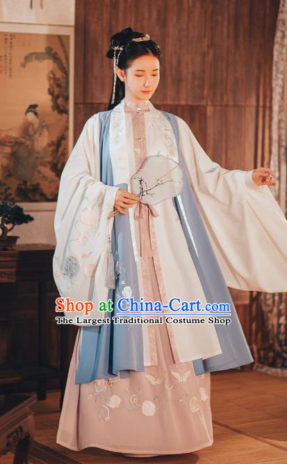 Chinese Ancient Ming Dynasty Historical Costumes Complete Set Princess Embroidered Garment Traditional Young Women Hanfu Dress
