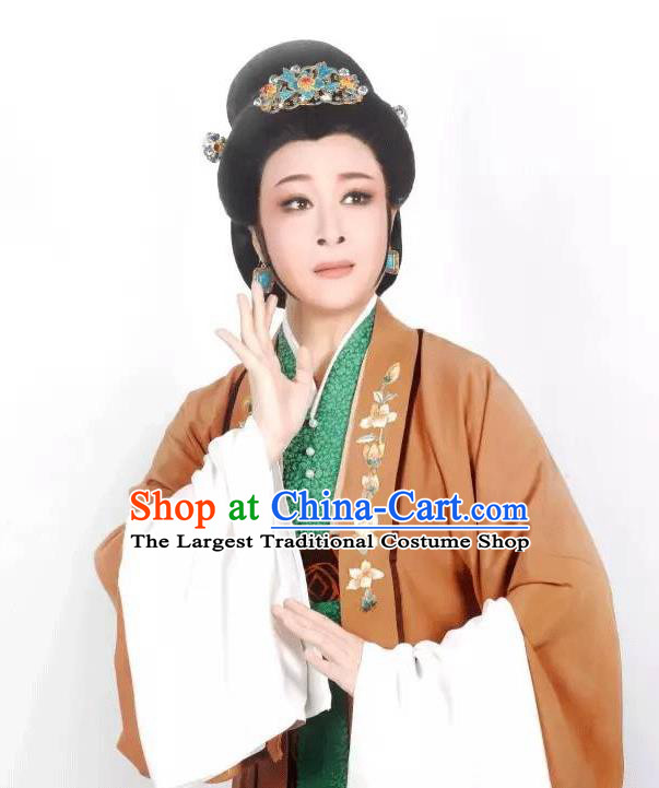 Chinese Shaoxing Opera Middle Age Female Costumes Zhang Yu Niang Apparels Yue Opera Garment Noble Dame Dress and Headwear