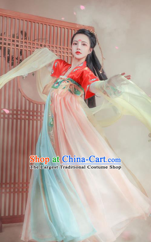Chinese Tang Dynasty Royal Princess Historical Costumes Ancient Palace Lady Hanfu Dress China Traditional Apparels