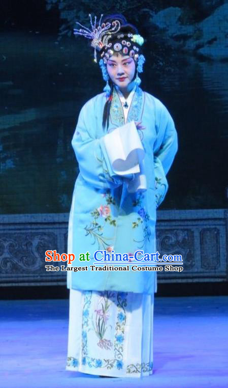 Chinese Ping Opera Xie Yaohuan Young Female Apparels Costumes and Headpieces Traditional Pingju Opera Diva Dress Garment