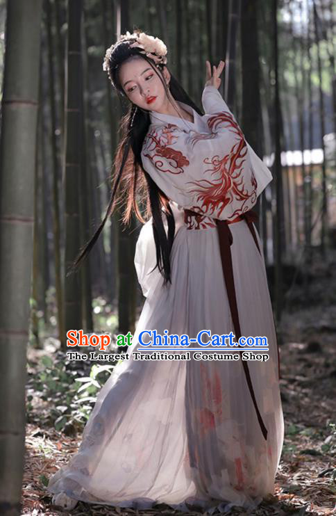 Chinese Traditional Jin Dynasty Young Lady Hanfu Dress Apparels Ancient Female Swordsman Historical Costumes
