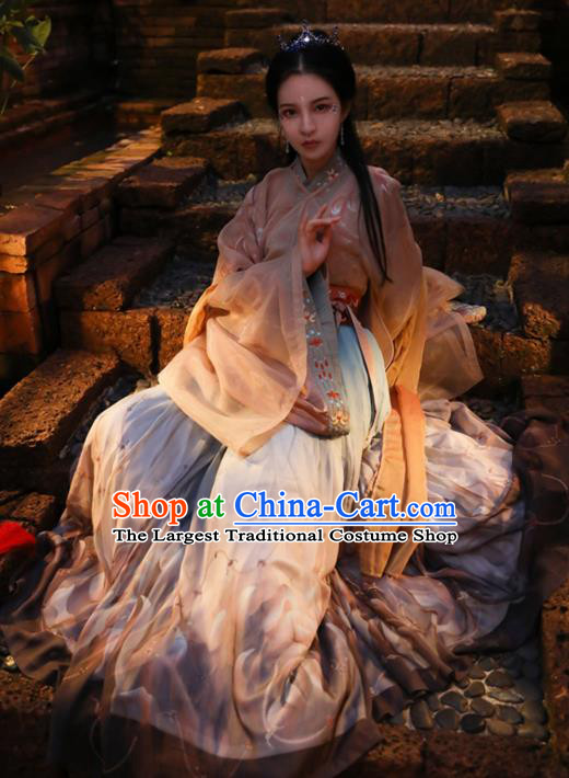 Chinese Ancient Court Lady Noble Princess Hanfu Dress Apparels Traditional Jin Dynasty Historical Costumes Complete Set