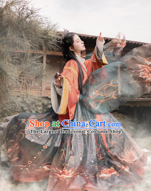 Chinese Ancient Imperial Consort Hanfu Dress Apparels Traditional Jin Dynasty Noble Female Historical Costumes for Women
