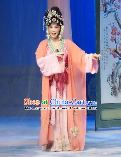 Chinese Ping Opera Young Female Liu Hua Costumes The Wrong Red Silk Apparels and Headpieces Traditional Pingju Opera Diva Dress Garment