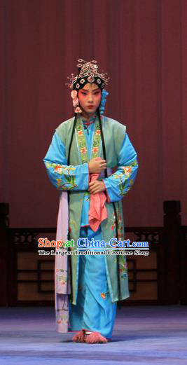Chinese Ping Opera Maidservant Apparels Costumes and Headpieces Linjiang Post Traditional Pingju Opera Xiaodan Dress Garment