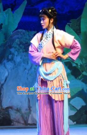 Chinese Ping Opera Young Lady Apparels Costumes and Headpieces Baoyu and Daiyu Traditional Pingju Opera Maidservant Hua Xiren Dress Garment
