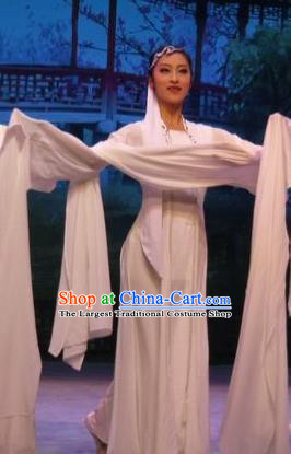 Chinese Ping Opera Young Lady Costumes Apparels and Headpieces Baoyu and Daiyu Traditional Pingju Opera White Dress Garment