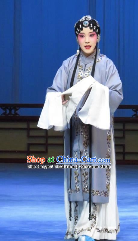 Chinese Ping Opera Diva Costumes Apparels and Headpieces Traditional Pingju Opera Young Female Grey Dress Garment