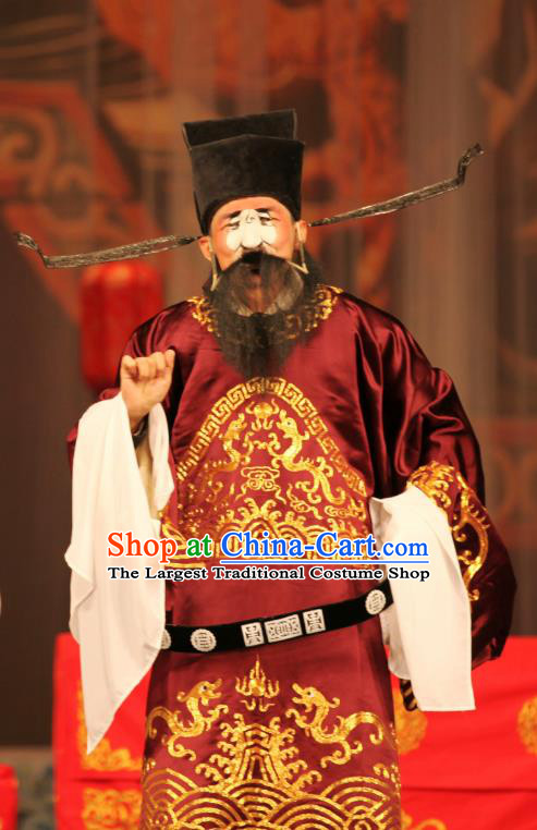 Ma Zhaoyi Chinese Ping Opera Minister Fei Wuji Costumes and Headwear Pingju Opera Official Apparels Clothing