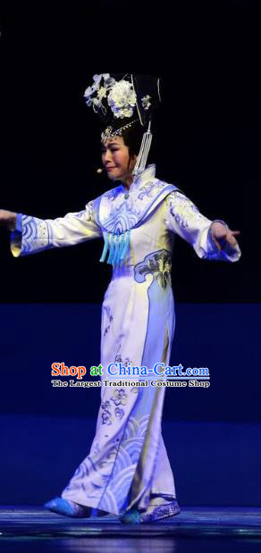 Chinese Ping Opera Queen Costumes Apparels and Headdress Xiaozhuang Changge Traditional Pingju Opera Actress Dress Garment