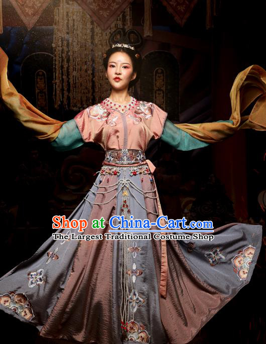 Chinese Traditional Tang Dynasty Flying Apsaras Dance Hanfu Dress Ancient Palace Lady Embroidered Apparels Historical Costumes Complete Set