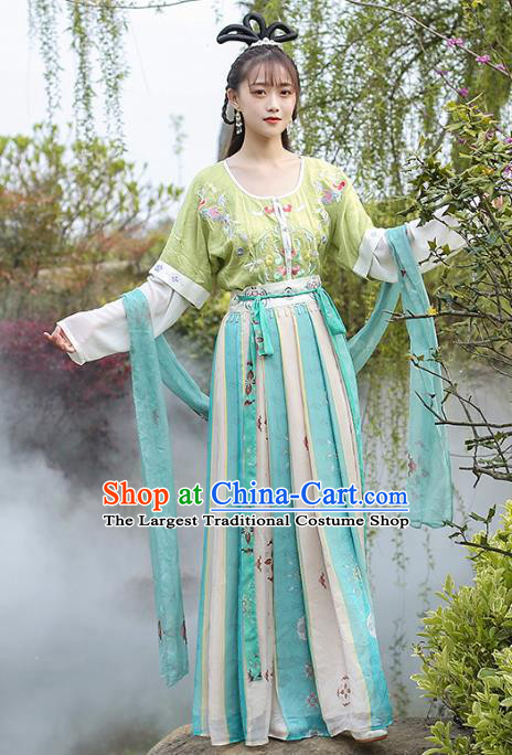 Chinese Traditional Apparels Ancient Palace Lady Historical Costumes Tang Dynasty Royal Princess Hanfu Dress for Women