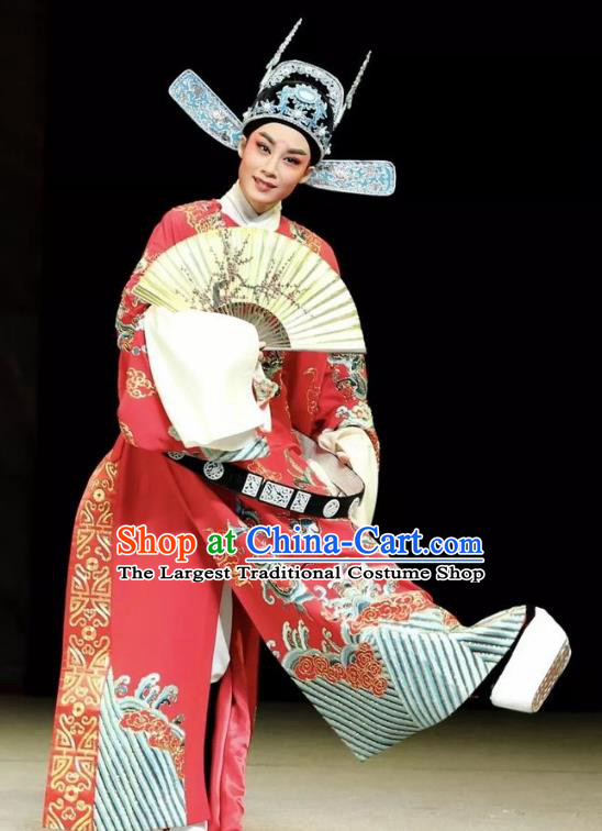 Chinese Yue Opera Official The Ungrateful Lover Qing Tan Garment Costumes and Headwear Shaoxing Opera Xiaosheng Clothing Apparels Wang Kui Embroidered Robe