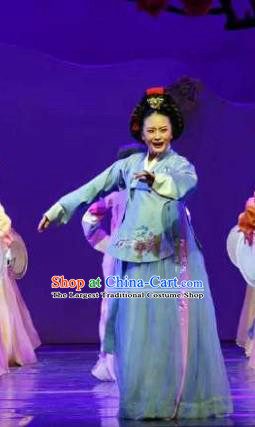 Chinese Shaoxing Opera Korean Elderly Female Hanbok Garment Apparels and Headpieces Chunh Yang Yue Opera Geisha Yue Mei Blue Dress Costumes