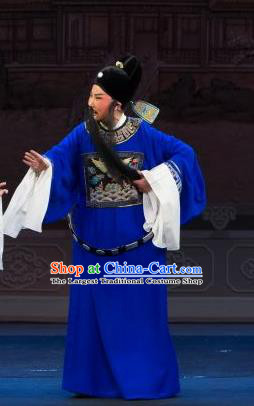 Li Mei Yue Chinese Yue Opera Elderly Male Yuan Ruhai Costumes and Hat Shaoxing Opera Laosheng Garment Apparels Magistrate Official Clothing