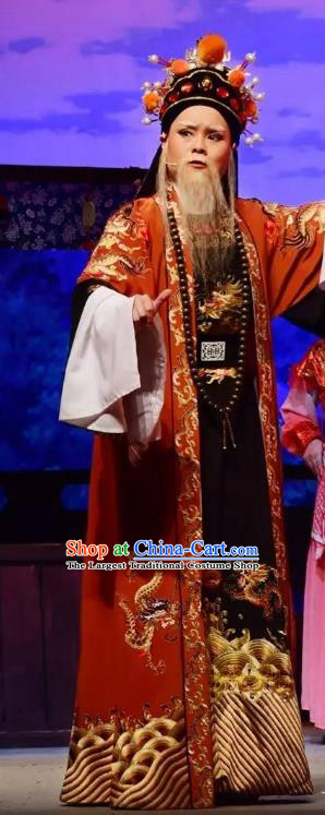 Li Mei Yue Chinese Yue Opera Elderly Male Clothing and Hat Shaoxing Opera Garment Laosheng Official Apparels Costumes