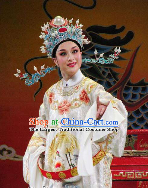 Chinese Yue Opera Number One Scholar Li Mei Yue Clothing and Hat Shaoxing Opera Xiaosheng Apparels Garment Young Male Costumes