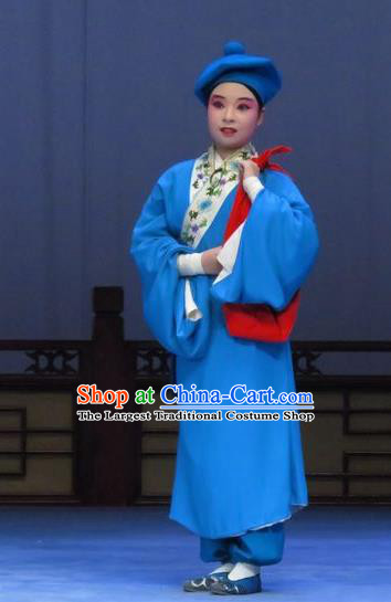 Tao Li Mei Chinese Ping Opera Young Servant Costumes and Hat Pingju Opera Livehand Apparels Clothing