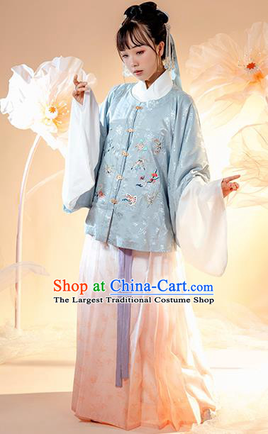 Chinese Ancient Patrician Female Hanfu Dress Garment Traditional Ming Dynasty Royal Princess Historical Costumes Court Lady Apparels Complete Set