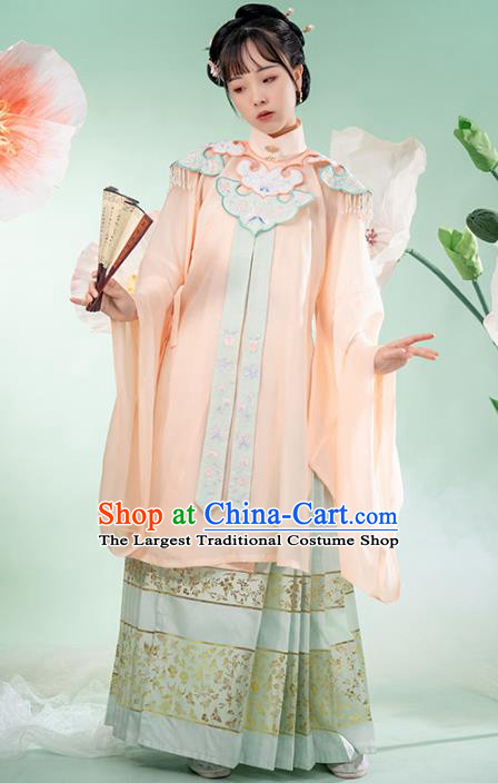 Chinese Ancient Noble Female Hanfu Dress Garment Apparels Traditional Ming Dynasty Historical Costumes for Rich Lady