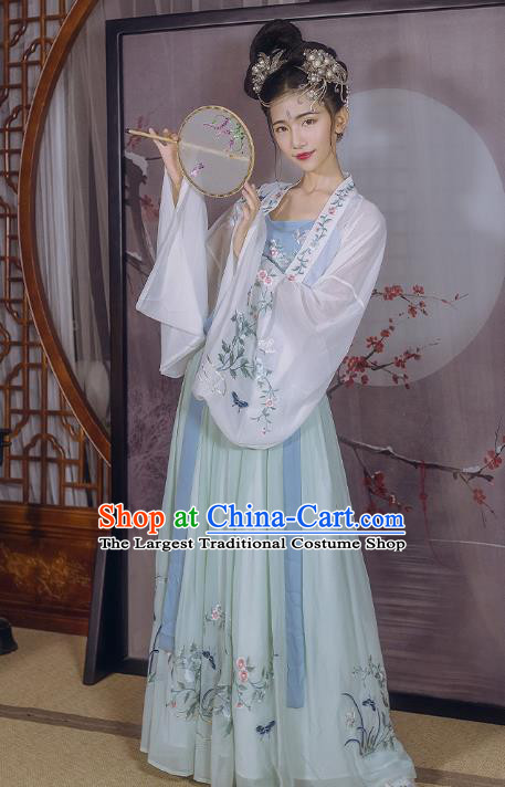 Traditional Chinese Ancient Court Lady Embroidered Hanfu Dress Garment Tang Dynasty Royal Princess Historical Costumes for Women
