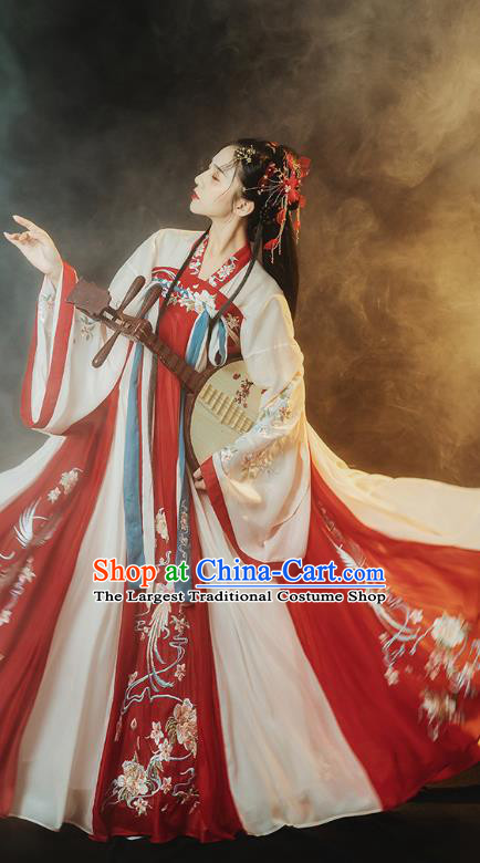 Traditional Chinese Ancient Noble Princess Embroidered Hanfu Dress Garment Tang Dynasty Court Historical Costumes Complete Set