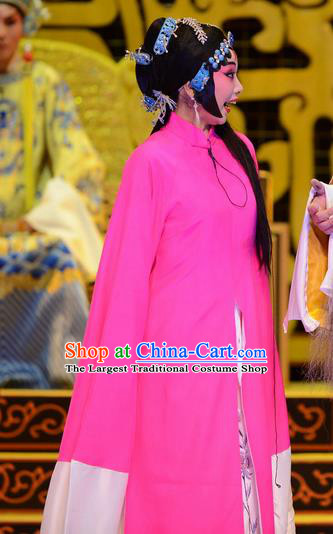 Chinese Ping Opera Young Female Apparels Costumes and Headpieces Yu Zhou Feng Traditional Pingju Opera Diva Zhao Yanrong Rosy Dress Garment