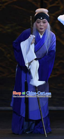 Chinese Ping Opera Female Beggar Apparels Costumes and Headpieces Traditional Pingju Opera Elderly Woman Dress Garment