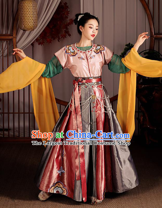 Chinese Traditional Flying Apsaras Dance Apparels Ancient Drama Tang Dynasty Court Lady Hanfu Dress Historical Costumes Complete Set