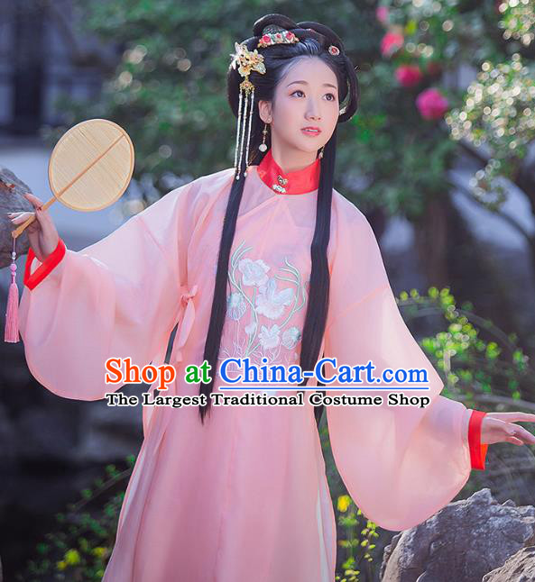 Chinese Ming Dynasty Young Lady Historical Costumes Traditional Ancient Noble Female Hanfu Dress Apparels