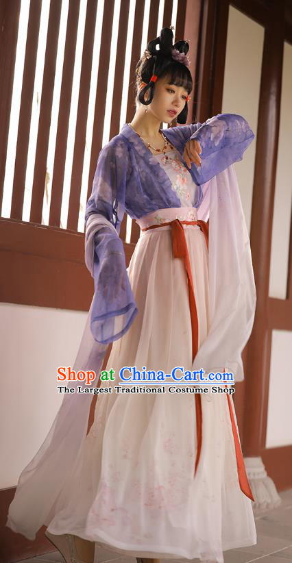 Chinese Ancient Palace Lady Embroidered Hanfu Dress Traditional Tang Dynasty Court Maid Historical Costumes Apparels