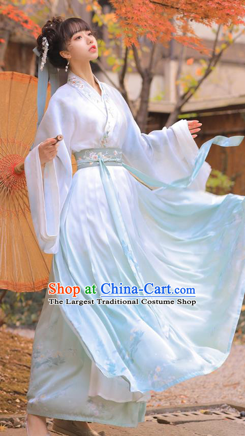 Chinese Traditional Jin Dynasty Royal Princess Historical Costumes Ancient Noble Lady Embroidered Hanfu Dress Apparels Complete Set