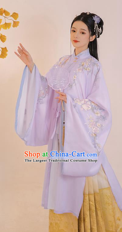 Chinese Ming Dynasty Rich Lady Embroidered Hanfu Dress Traditional Apparels Ancient Noble Female Historical Costumes