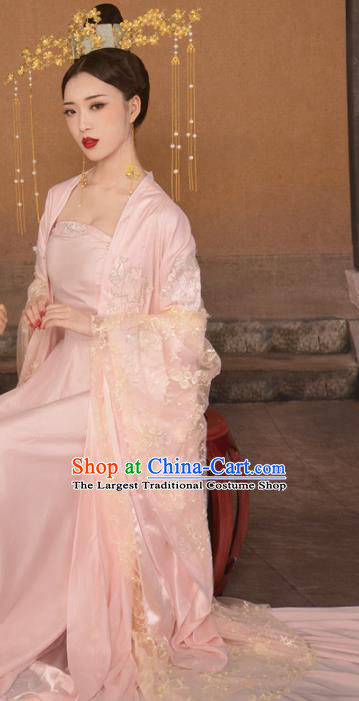 Chinese Drama Ancient Queen Pink Hanfu Dress Apparels Traditional Tang Dynasty Empress Historical Costumes and Headwear for Women