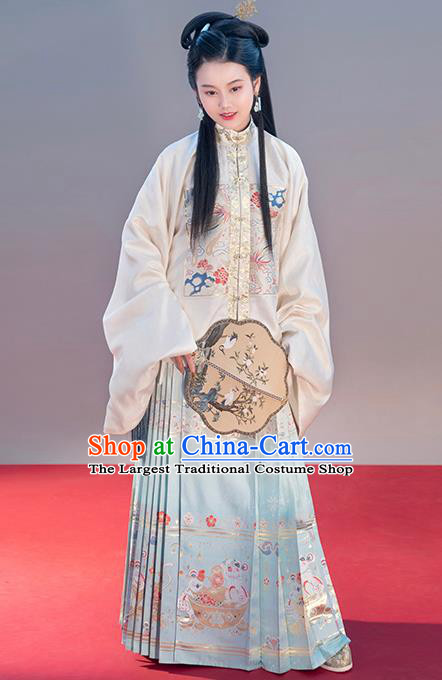 Chinese Traditional Ming Dynasty Patrician Female Apparels Ancient Nobility Lady Hanfu Dress Blouse and Skirt Historical Costumes Complete Set
