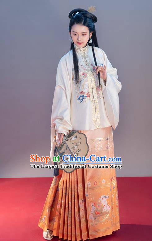 Chinese Traditional Ming Dynasty Noble Female Apparels Ancient Patrician Lady Hanfu Dress Historical Costumes White Blouse and Orange Skirt Complete Set