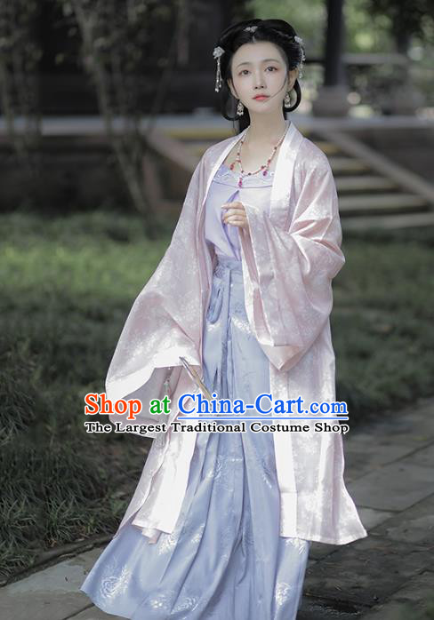 Chinese Traditional Song Dynasty Noble Lady Hanfu Dress Apparels Ancient Patrician Woman Historical Costumes Complete Set