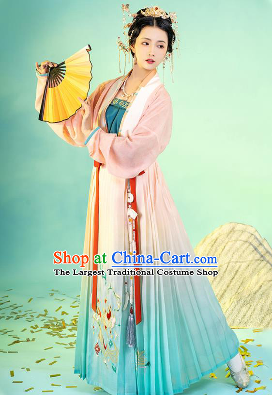 Asian Chinese Traditional Song Dynasty Nobility Lady Hanfu Apparels Ancient Young Female Historical Costumes Beizi Blouse and Pleated Skirt Full Set