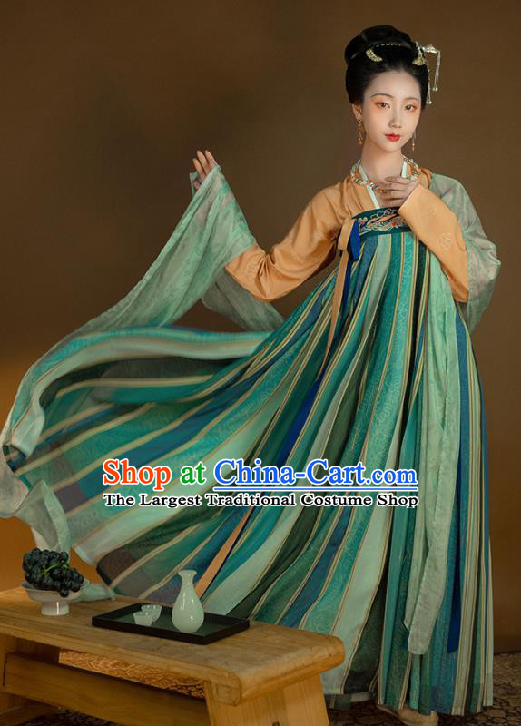 Top Grade Chinese Traditional Tang Dynasty Princess Hanfu Apparels Ancient Palace Lady Historical Costumes Blouse and Embroidered Slip Skirt Full Set