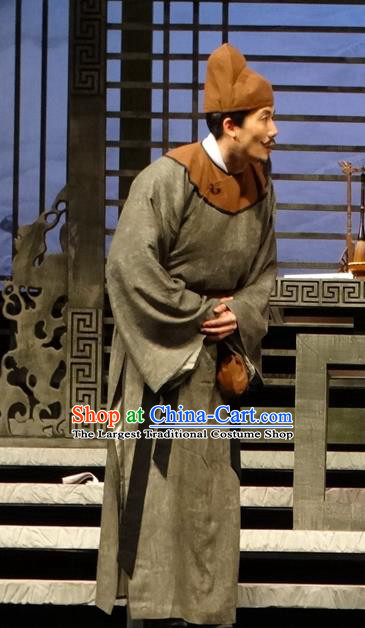 Chinese Traditional Song Dynasty Civilian Male Clothing Stage Performance Historical Drama Han Wengong Apparels Costumes Ancient Businessman Garment and Headwear