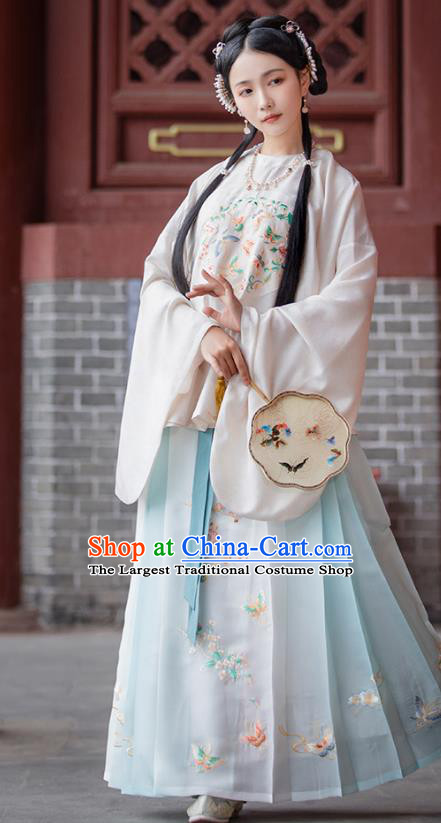 Top Chinese Traditional Ming Dynasty Nobility Female Hanfu Apparels Ancient Patrician Lady Historical Costumes Blouse and Horse Face Skirt Complete Set