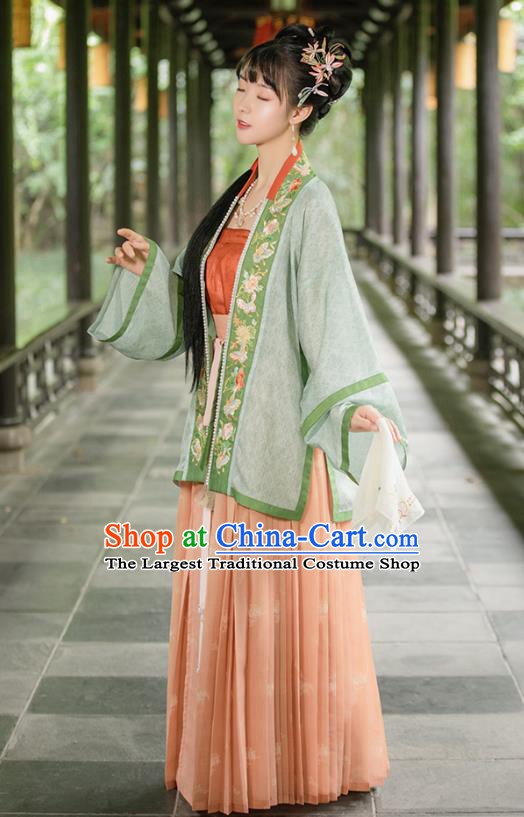 Chinese Traditional Song Dynasty Nobility Lady Hanfu Apparels Ancient Young Woman Embroidered BeiZi and Skirt Historical Costumes Complete Set