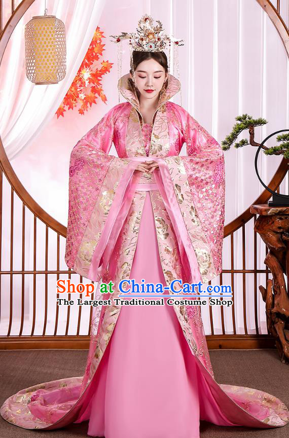 Traditional Chinese Tang Dynasty Court Queen Pink Hanfu Dress Apparels Ancient Drama Palace Empress Historical Costumes for Women