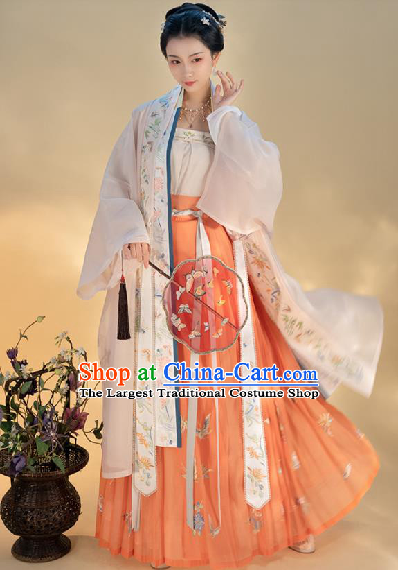 Traditional Chinese Song Dynasty Noble Madam Dress Hanfu Apparels Ancient Patrician Woman Historical Costumes Embroidered BeiZi Blouse and Skirt Full Set