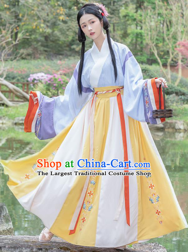 Traditional Chinese Jin Dynasty Patrician Lady Dress Hanfu Apparels Ancient Royal Infanta Historical Costumes Blouse and Skirt Complete Set